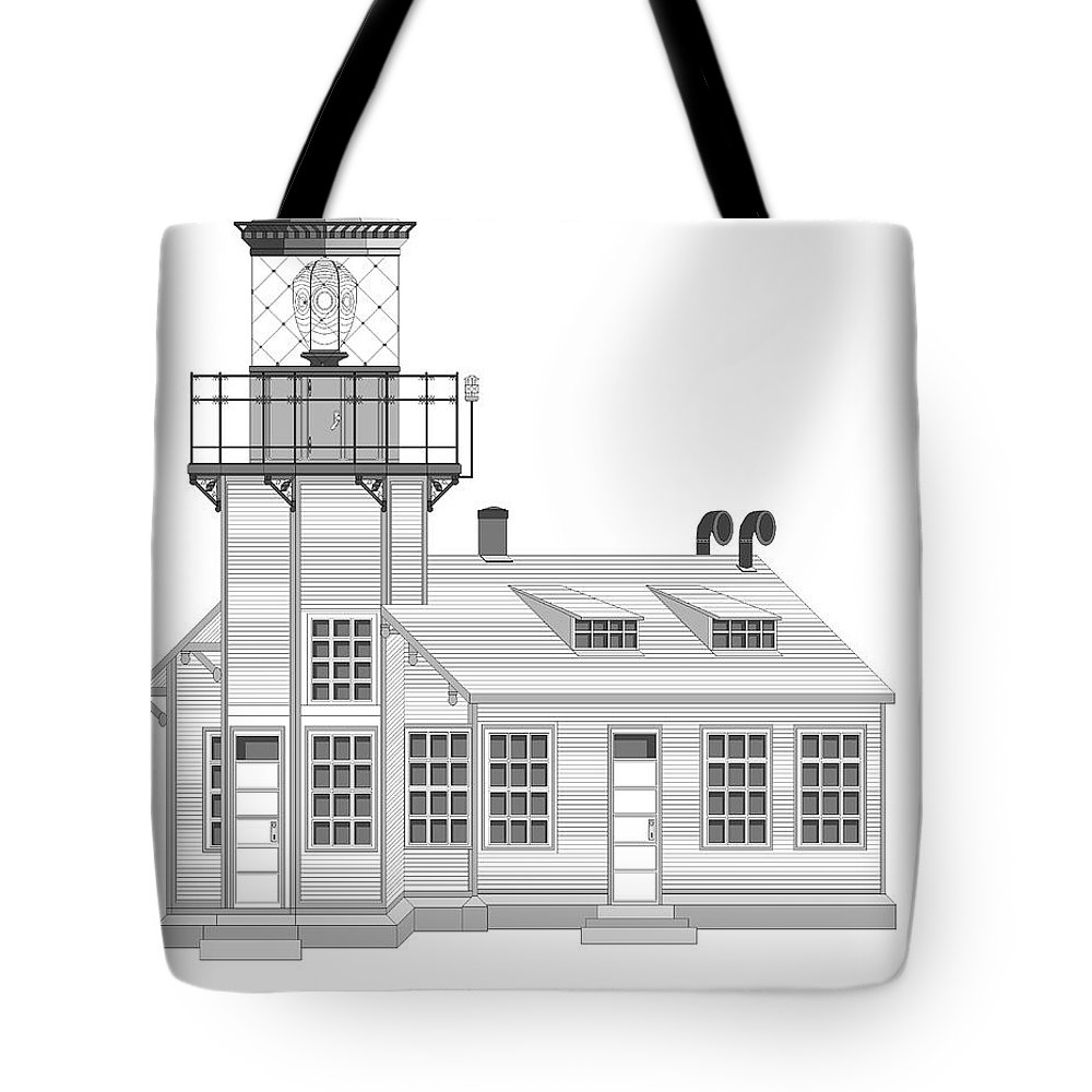 Lighthouse Tote Bag featuring the painting Point Cabrillo Architectural Drawing by Anne Norskog