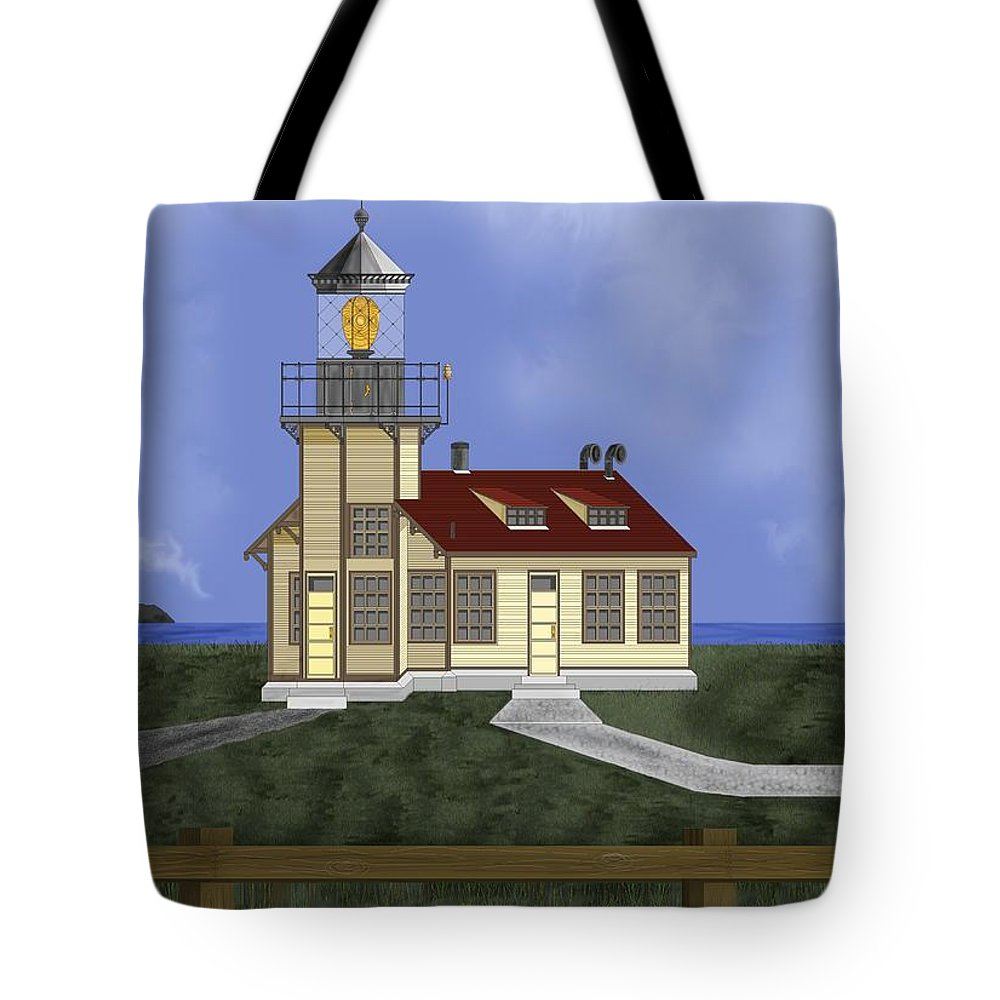 Lighthouse Tote Bag featuring the painting Point Cabrillo California by Anne Norskog