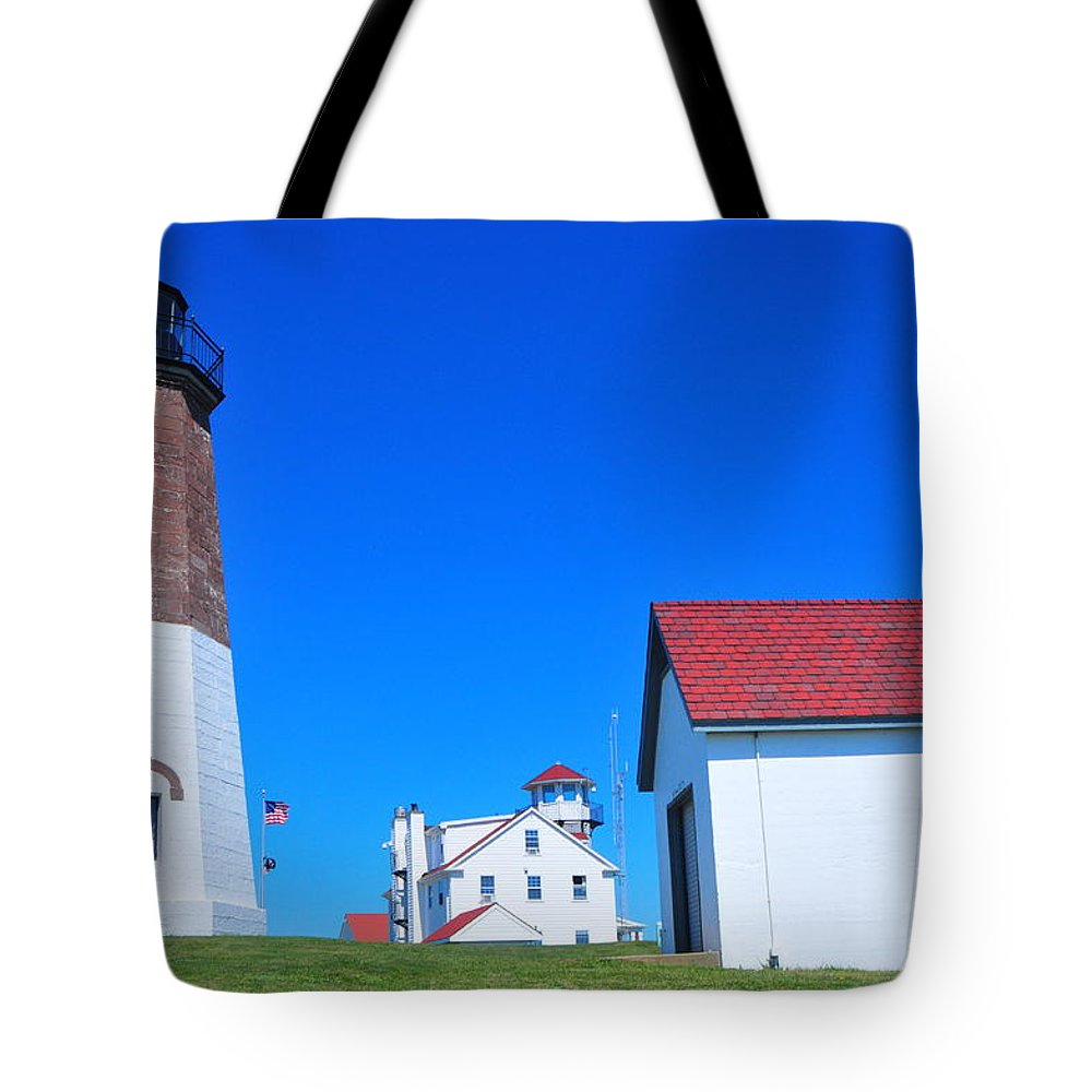 Point Judith Lighthouse Tote Bag featuring the photograph Point Judith Light by Catherine Reusch Daley