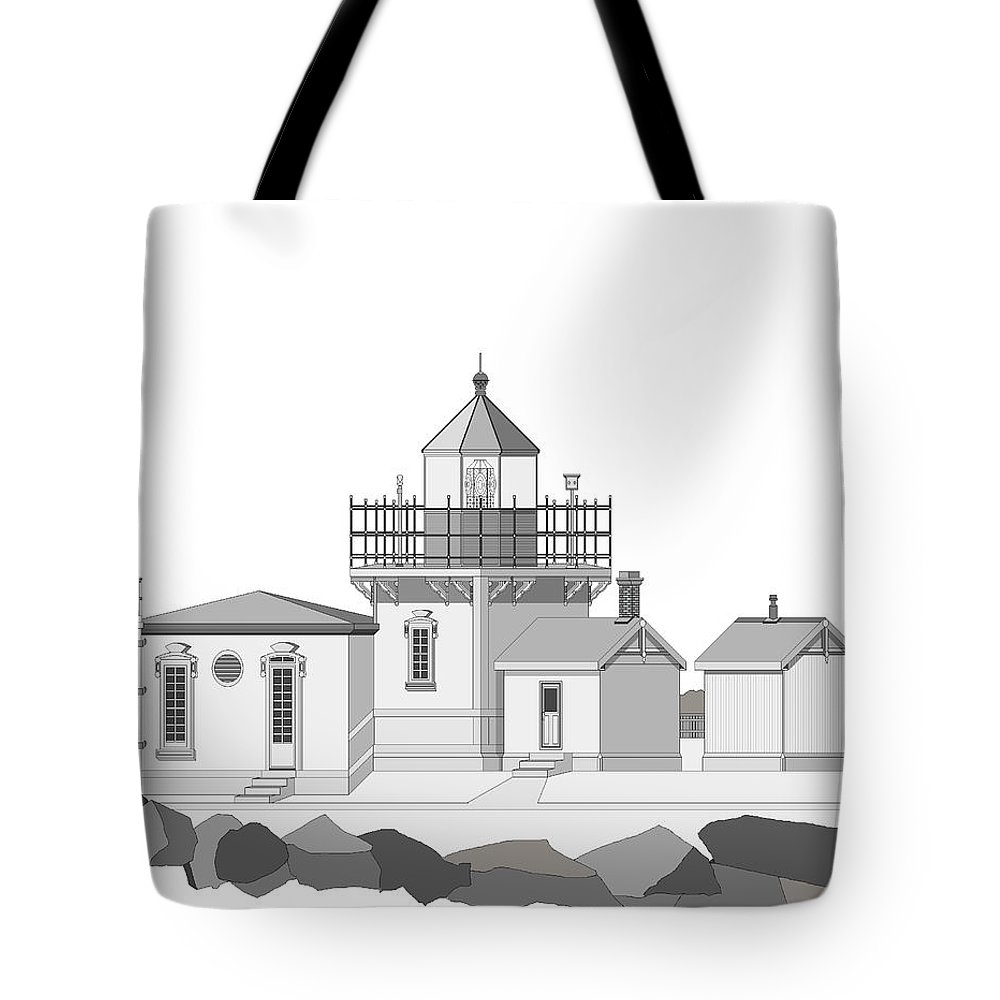 Lighthouse Tote Bag featuring the painting Point No Point As Architectural Drawing by Anne Norskog