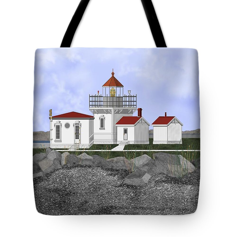 Lighthouse Tote Bag featuring the painting Point No Point Lighthouse by Anne Norskog