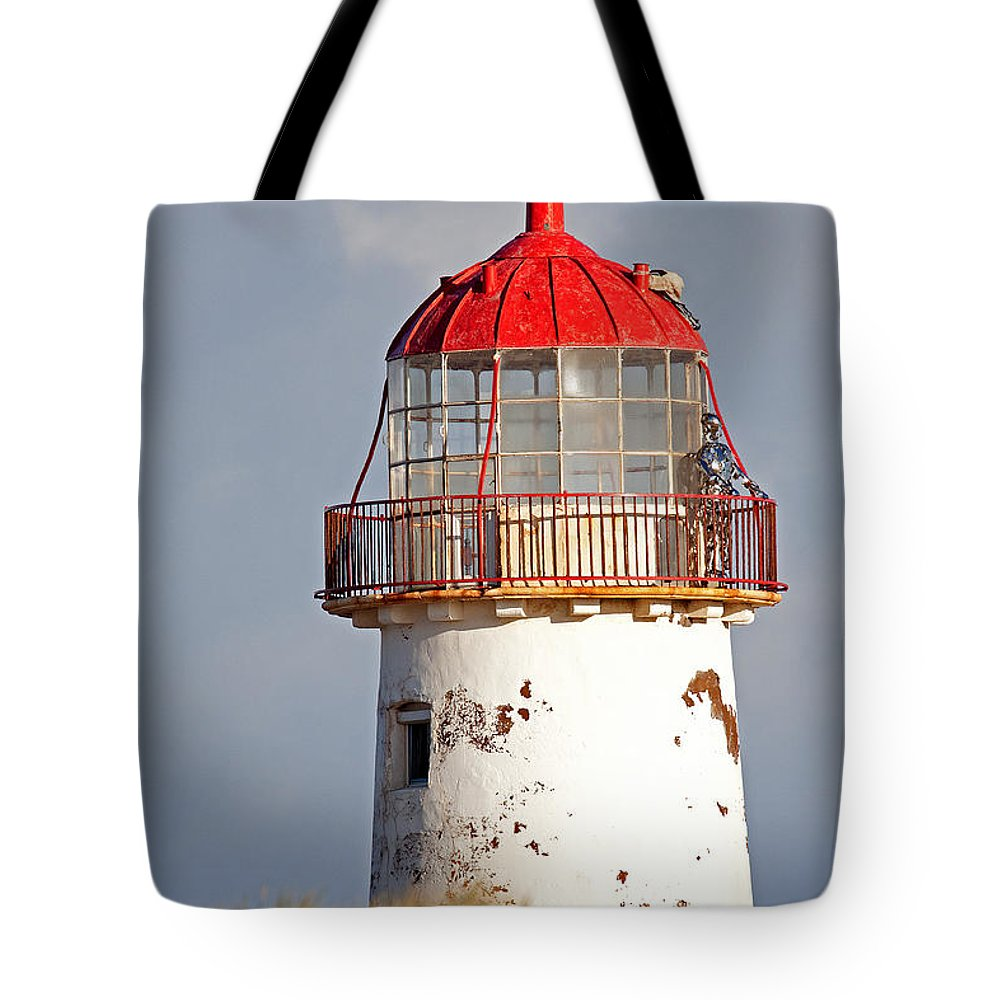 Point Of Ayr Tote Bag featuring the photograph Point Of Ayr Lighthouse North Wales by Bob Kemp