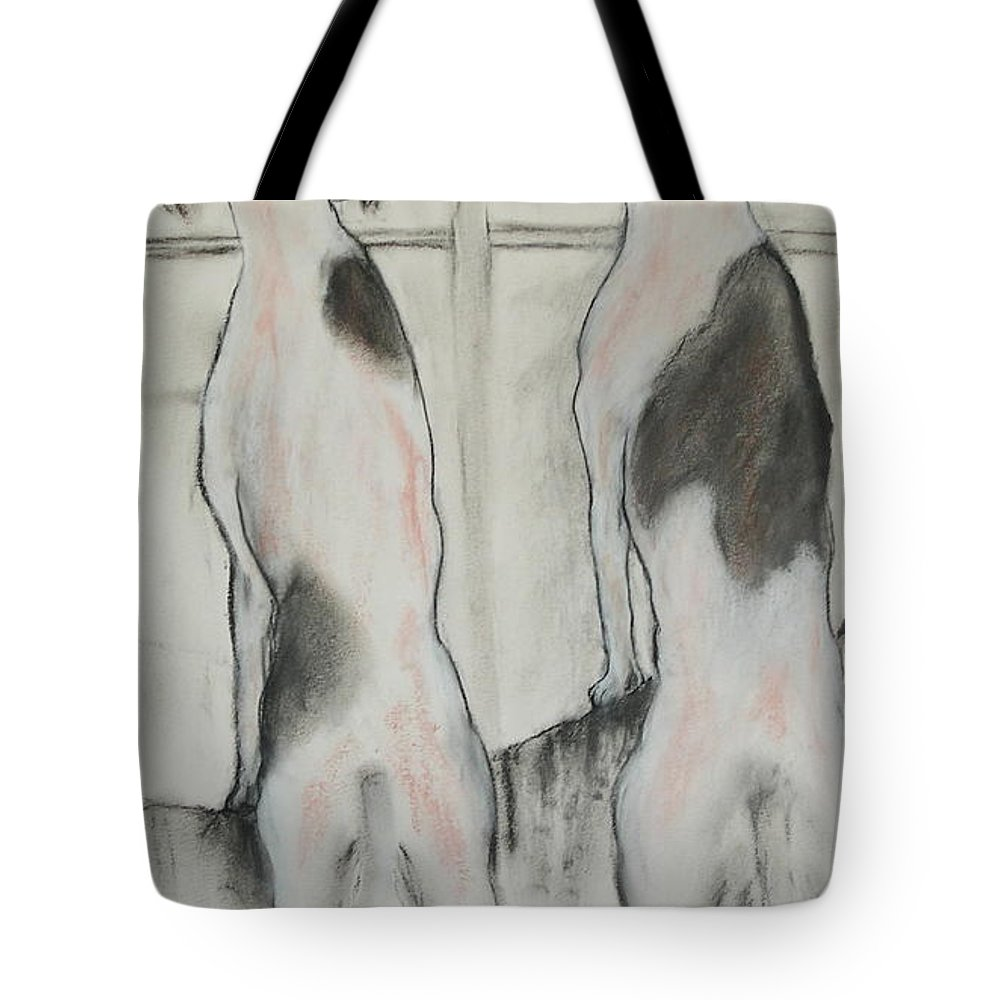 Pastel Tote Bag featuring the drawing Point Of View by Cori Solomon