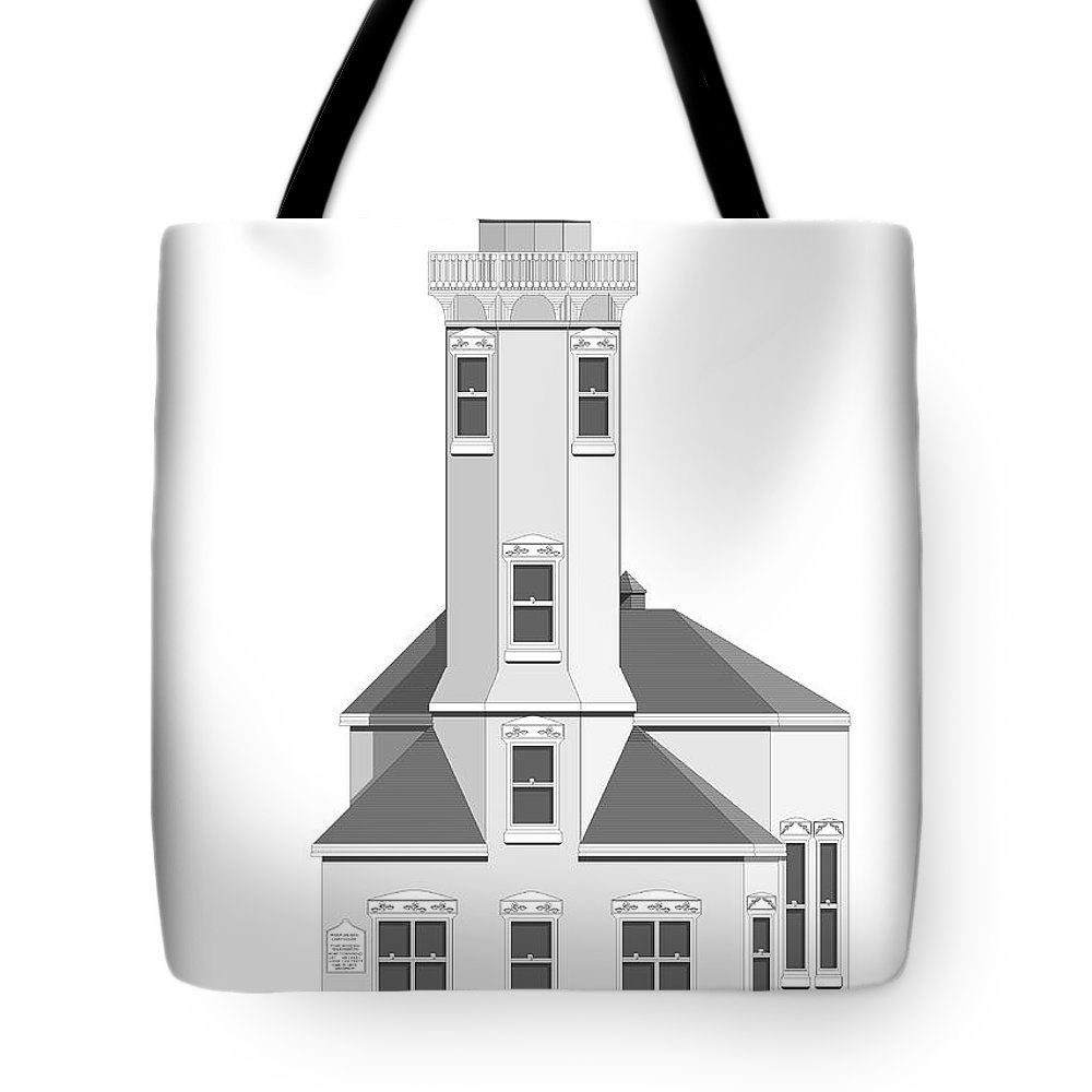 Lighthouse Tote Bag featuring the painting Point Wilson Architectural Drawing by Anne Norskog