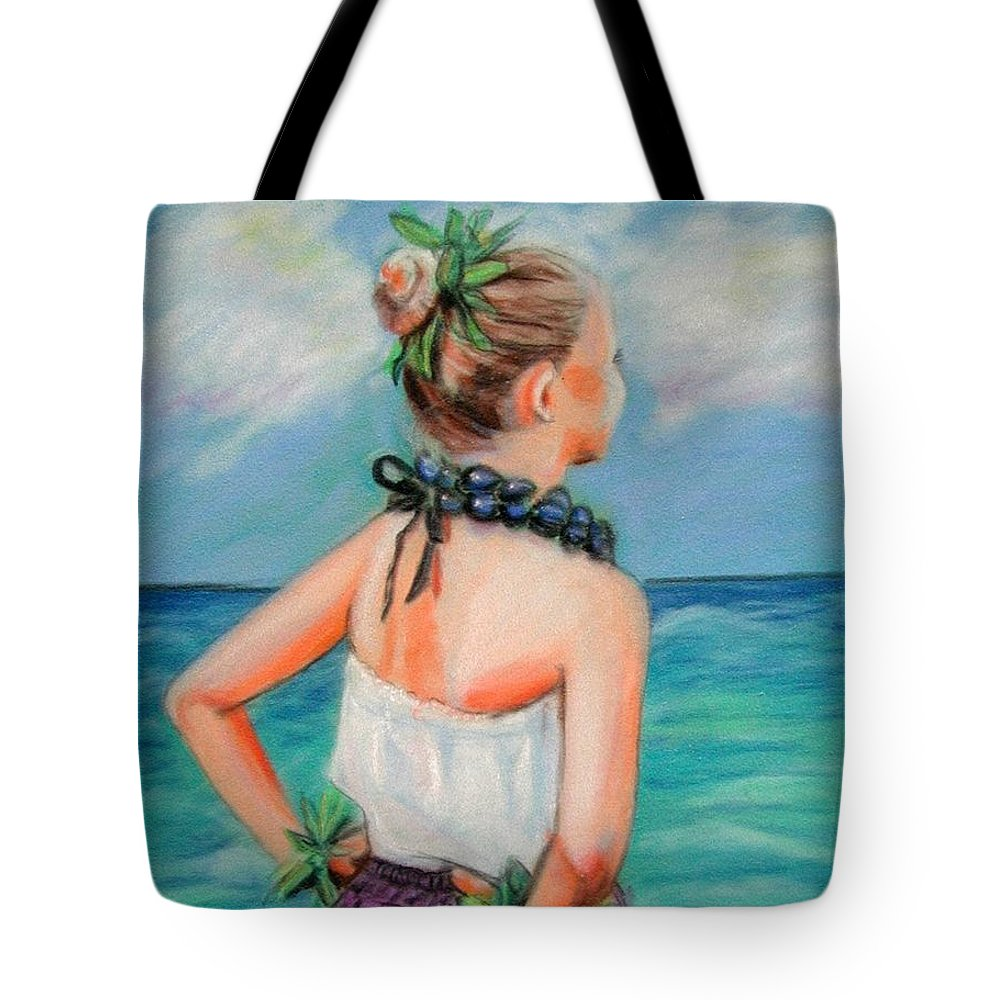Hula Dance Tote Bag featuring the painting Poipu Hula by Marionette Taboniar