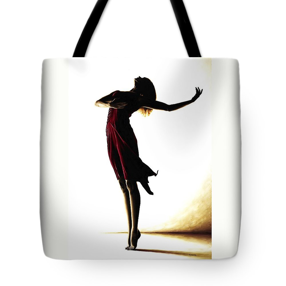 Ballet Tote Bag featuring the painting Poise In Silhouette by Richard Young