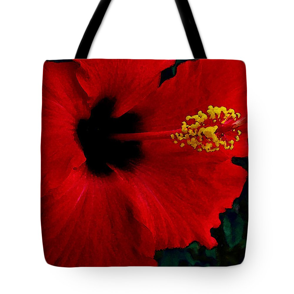 Red Hibiscus Tote Bag featuring the photograph Poison Passion and Seduction by James Temple