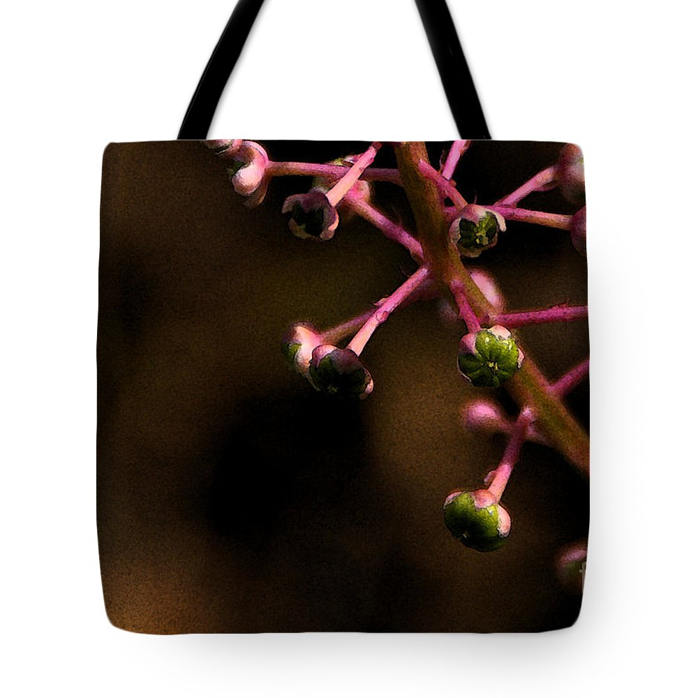 Pokeweed Tote Bag featuring the photograph Pokeweed Emerges - Wc by Linda Shafer