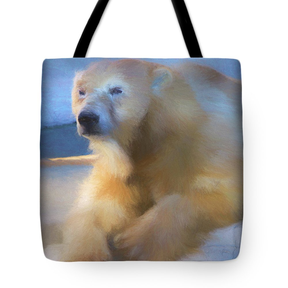 Chalk Drawing Tote Bag featuring the digital art Polar Bear In Chalk by Kandy Hurley