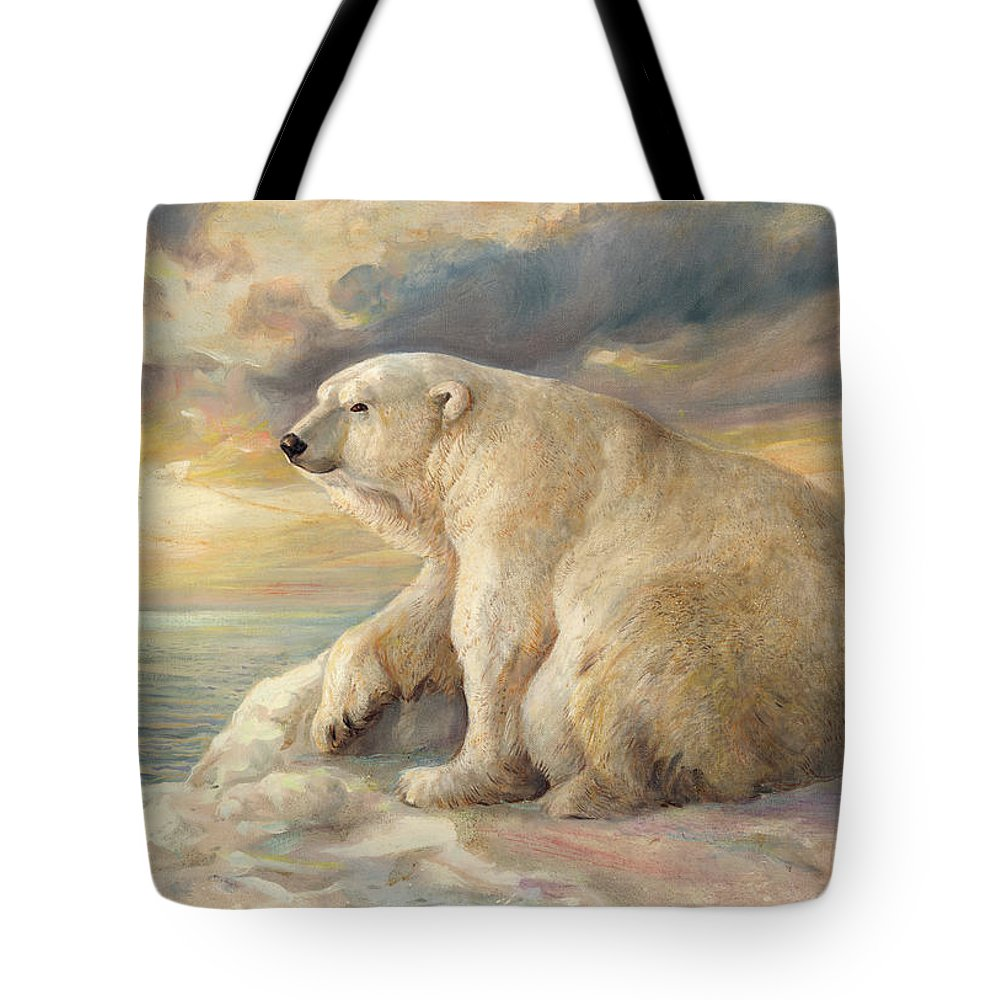 Polar Bear Tote Bag featuring the painting Polar Bear Rests On The Ice - Arctic Alaska by Svitozar Nenyuk