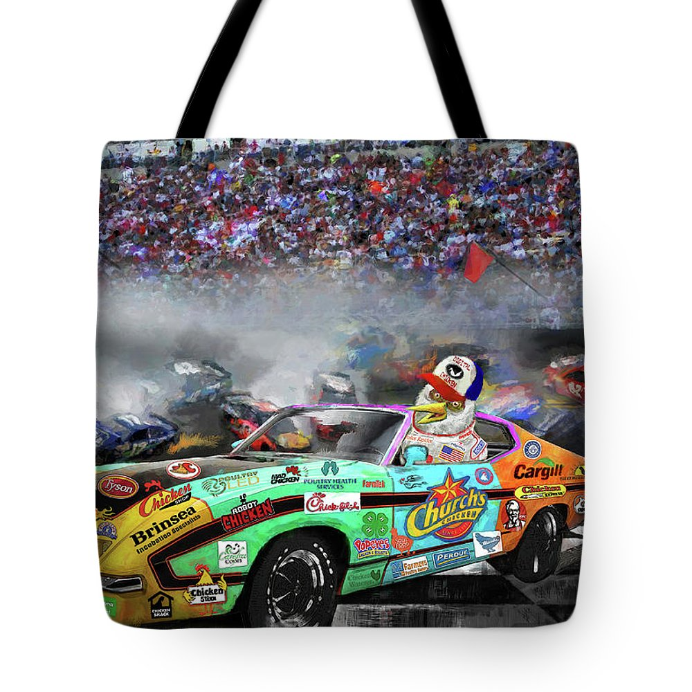 Nascar Tote Bag featuring the painting Pole Position by Robert Pratt