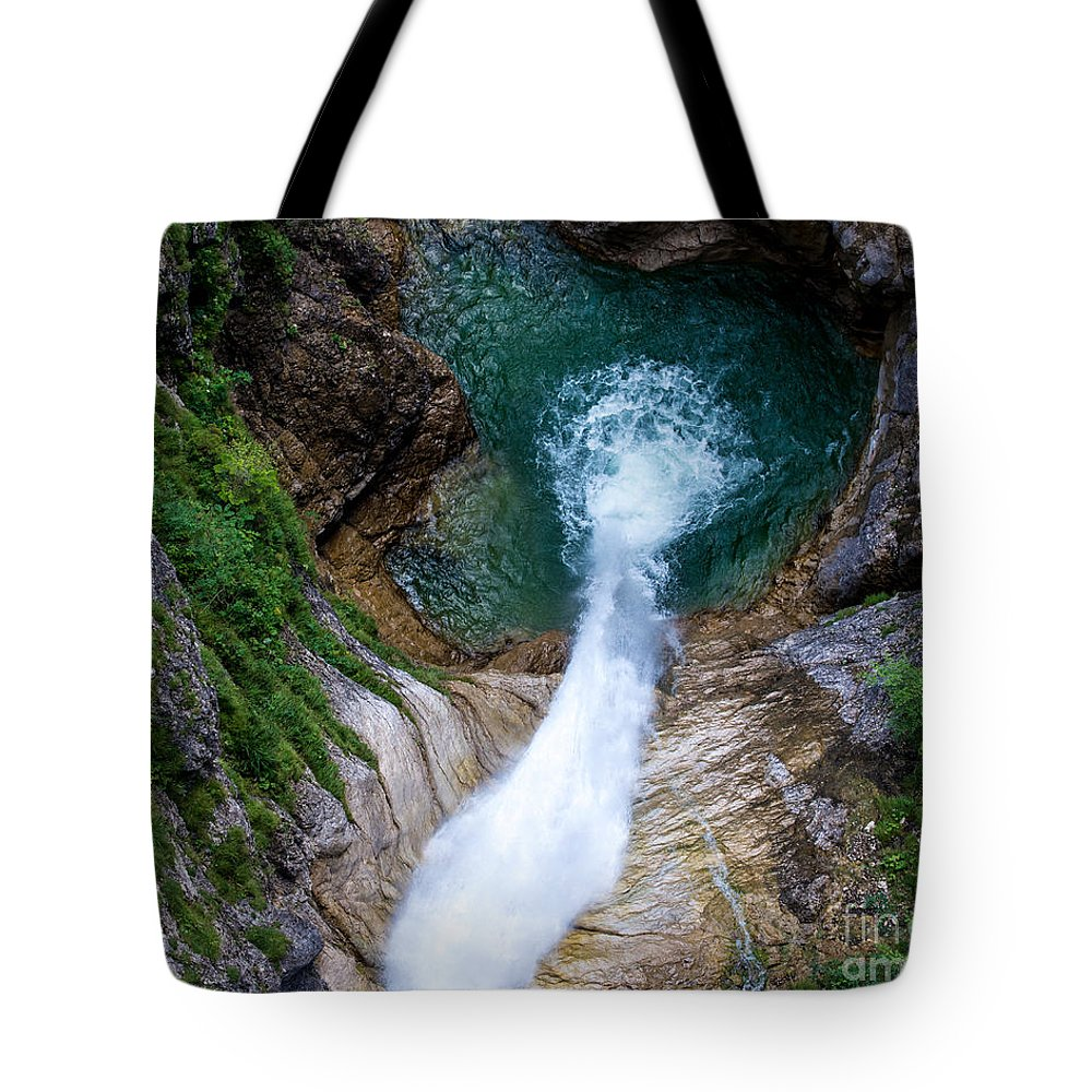 Pollat River Tote Bag featuring the photograph Pollat River Waterfall - Neuschwanstein Castle - Germany by Gary Whitton