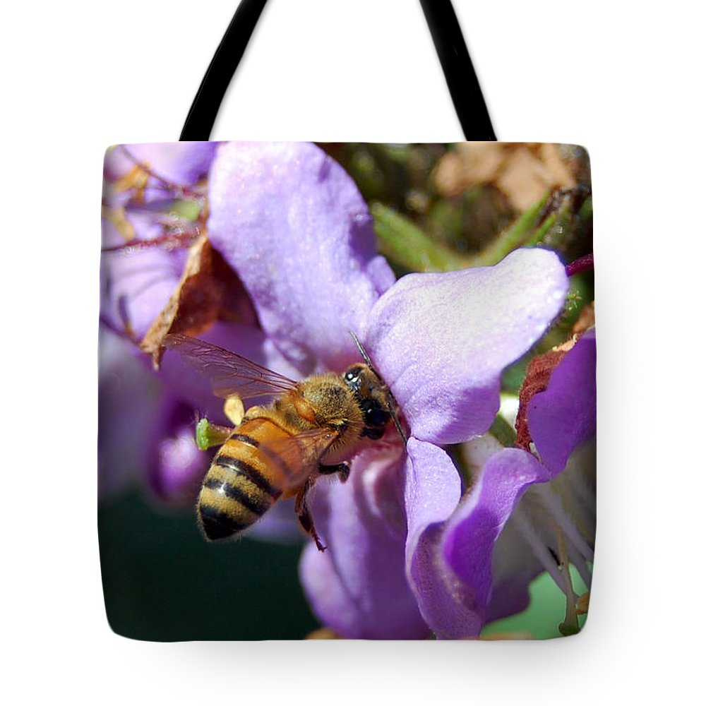 Flower Tote Bag featuring the photograph Pollinating 2 by Amy Fose