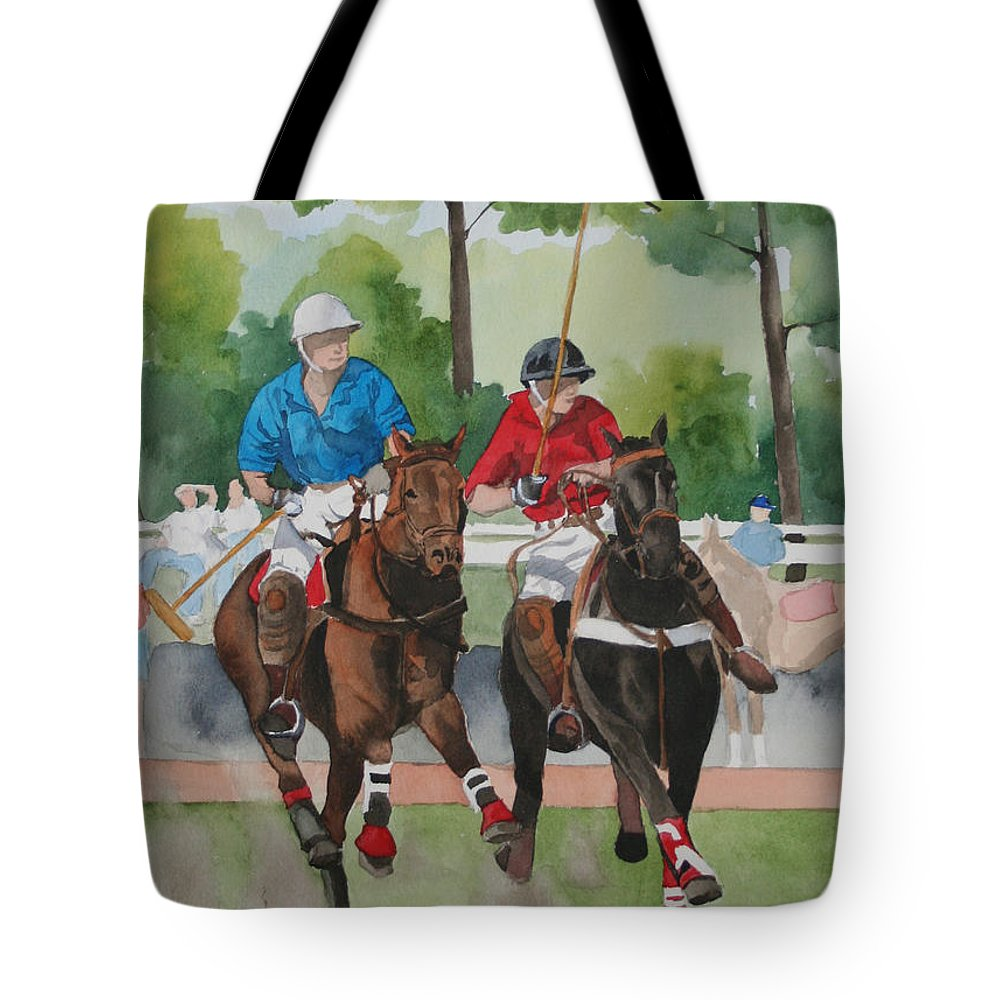 Polo Tote Bag featuring the painting Polo In The Afternoon 2 by Jean Blackmer