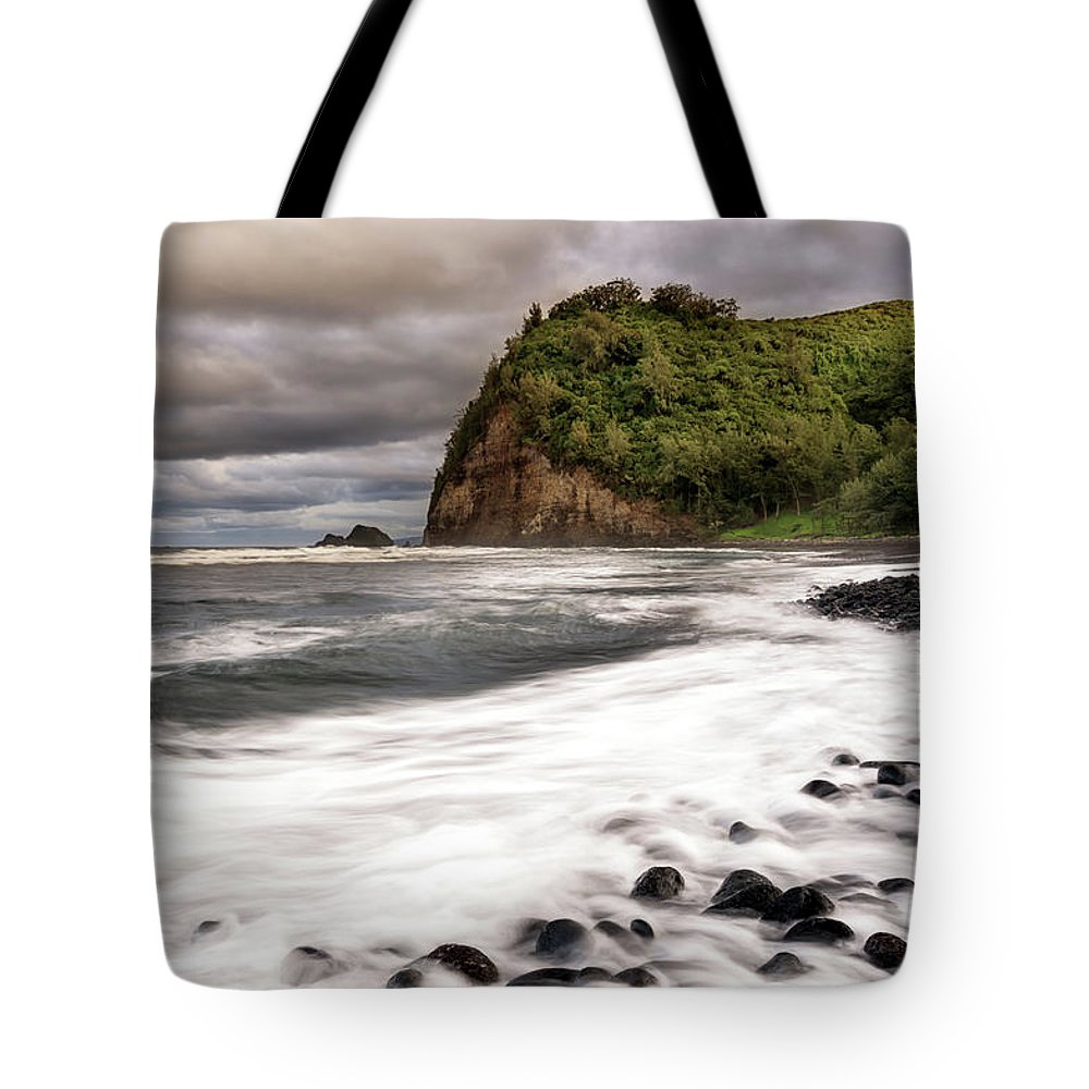 Hawaii Tote Bag featuring the photograph Pololu Whitewash by Christopher Johnson