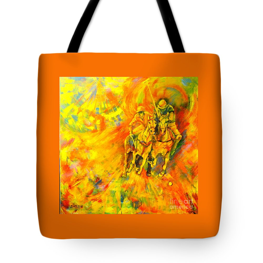 Horses Tote Bag featuring the painting Poloplayer by Dagmar Helbig