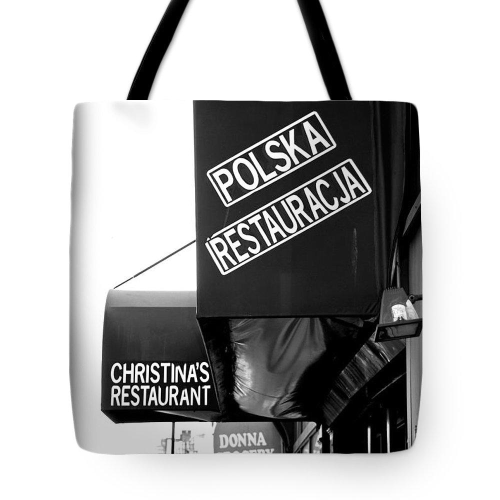 Signage Tote Bag featuring the photograph Polska Restauracja by John Schneider