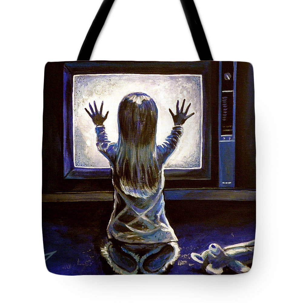 Poltergeist Tote Bag featuring the painting Poltergeist by Tom Carlton