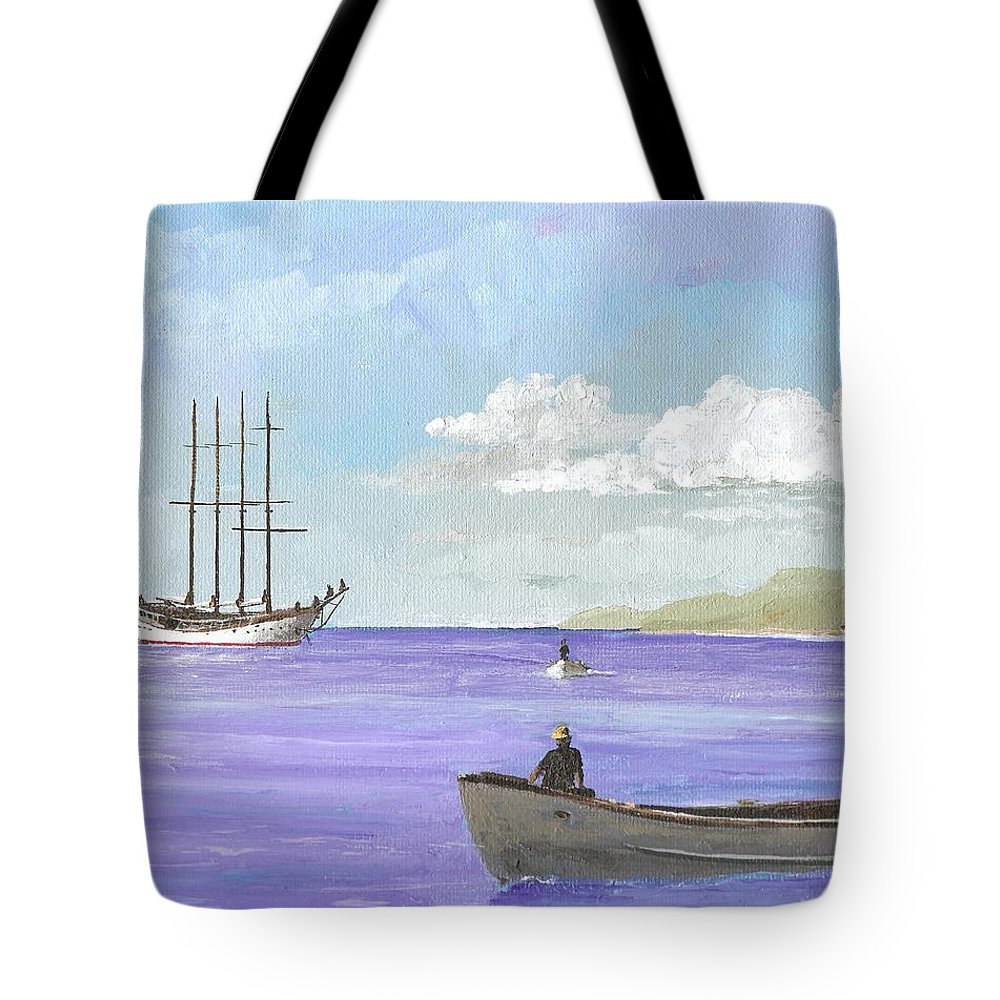 Windjammer Tote Bag featuring the painting Polynesia Ex Argus by Keith Wilkie