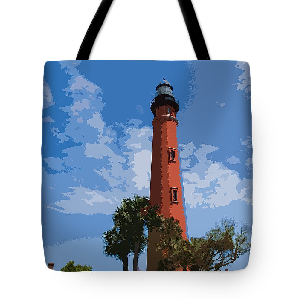 Light Tote Bag featuring the painting Ponce Inlet Light by Allan Hughes