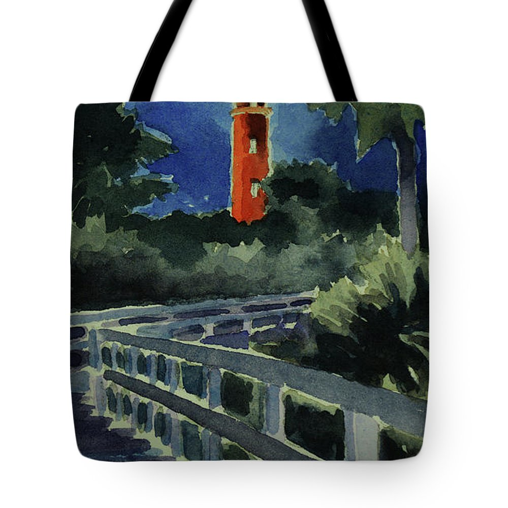 Original Tote Bag featuring the painting Ponce Inlet Lighthouse Before Dawn 7-5-17 by Julianne Felton