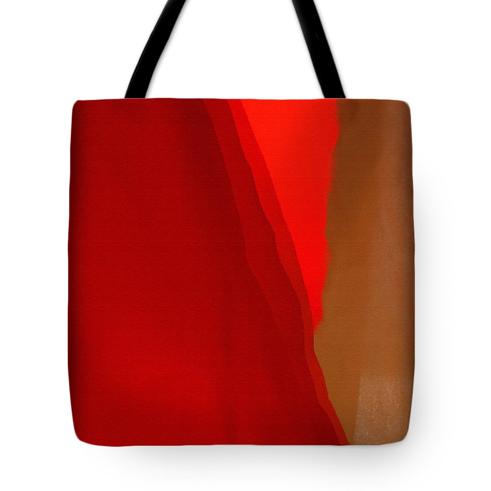 Red Tote Bag featuring the photograph Poncho Abstract 4 by Jeff Breiman