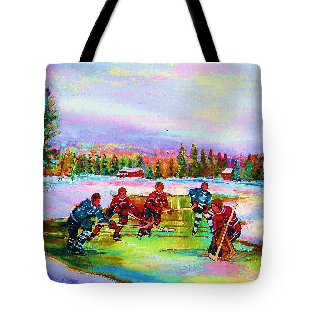 Hockey Tote Bag featuring the painting Pond Hockey Blue Skies by Carole Spandau