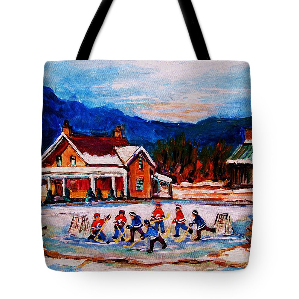 Hockey Tote Bag featuring the painting Pond Hockey by Carole Spandau