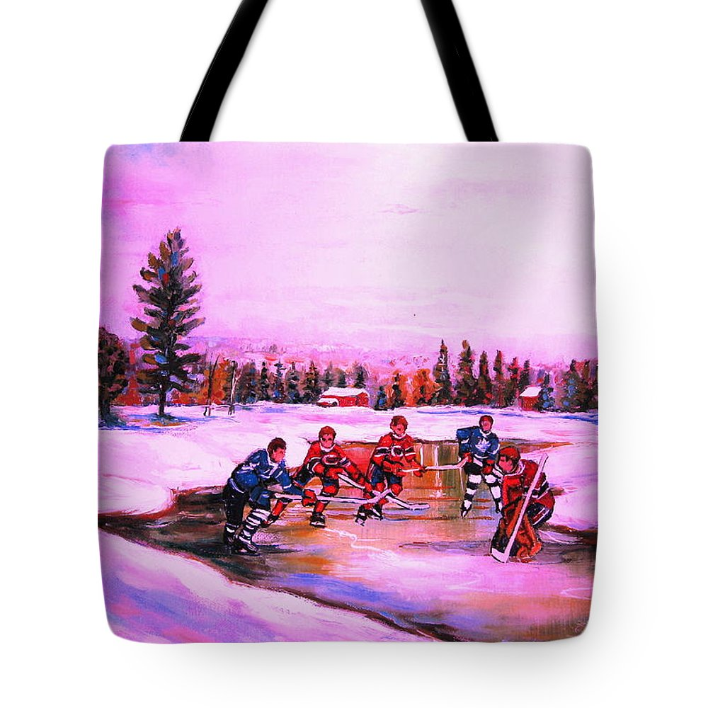 Hockey Tote Bag featuring the painting Pond Hockey Warm Skies by Carole Spandau