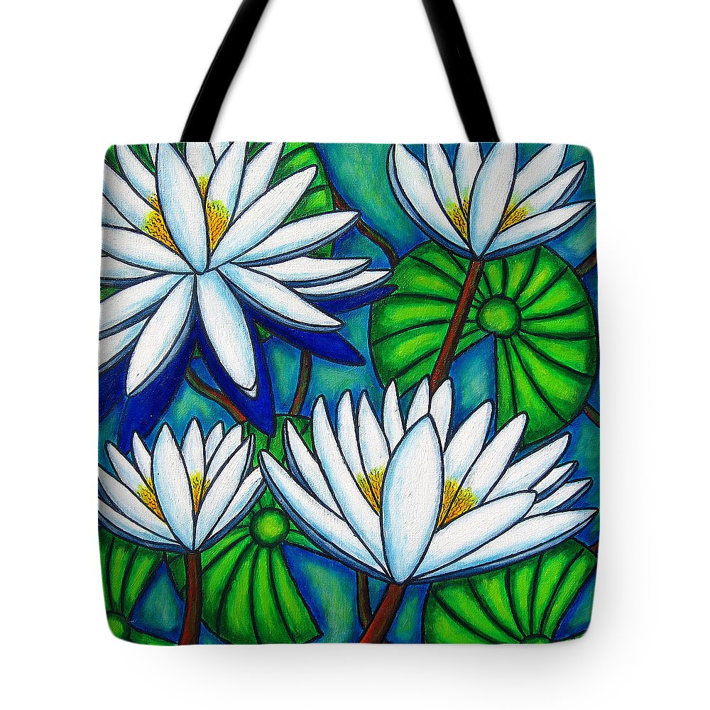 Water Lilies Tote Bag featuring the painting Pond Jewels by Lisa Lorenz