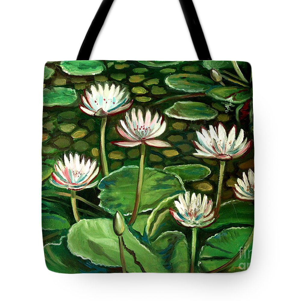 Water Tote Bag featuring the painting Pond Of Petals by Elizabeth Robinette Tyndall