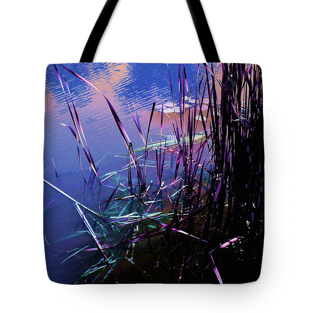 Reeds In Pond At Sunset Tote Bag featuring the photograph Pond Reeds At Sunset by Joanne Smoley
