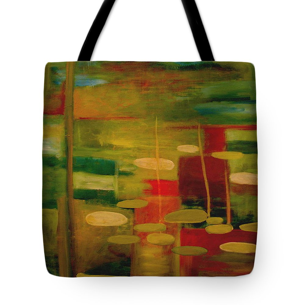 Pond Tote Bag featuring the painting Pond Reflections by Jun Jamosmos