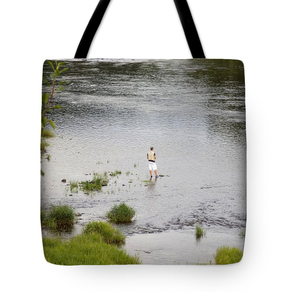 Fishing Tote Bag featuring the photograph Pondering Fisherman by William Tasker