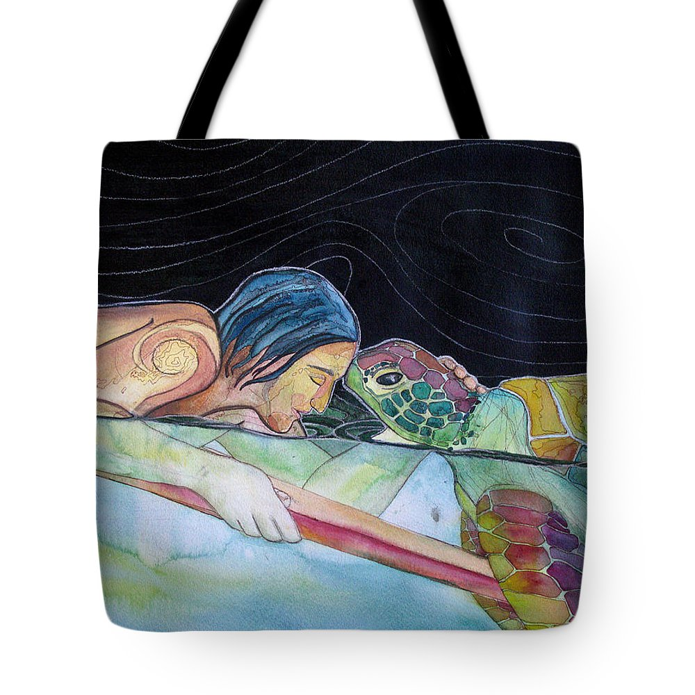Surfing Tote Bag featuring the painting Pono--harmony by Kimberly Kirk