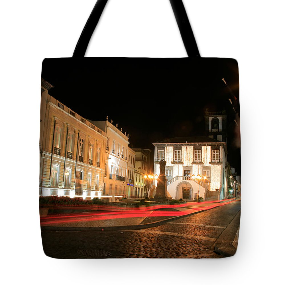 Azores Tote Bag featuring the photograph Ponta Delgada At Night by Gaspar Avila