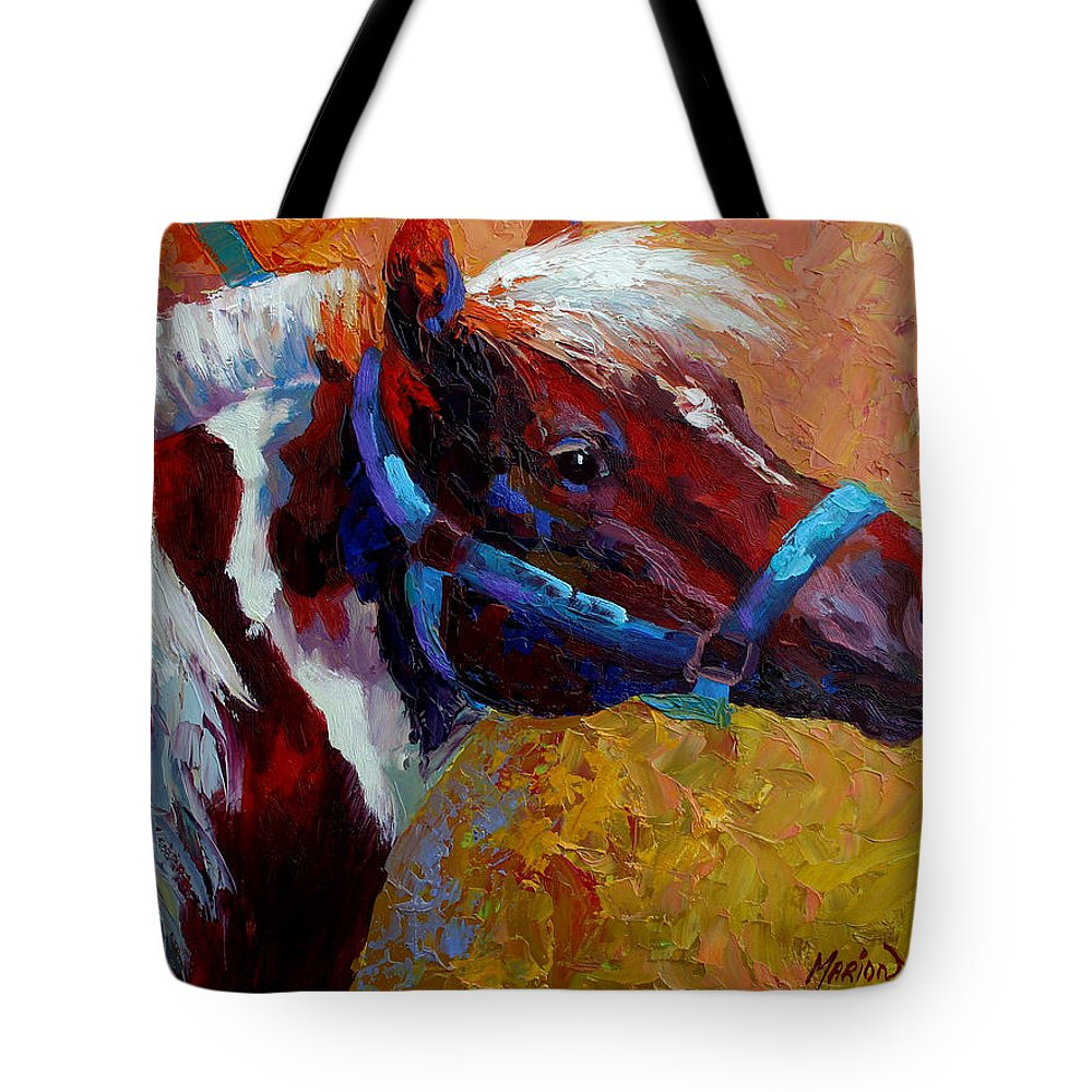 Western Tote Bag featuring the painting Pony Boy by Marion Rose