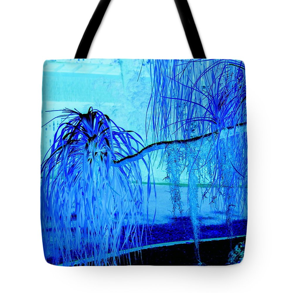 Abstract Tote Bag featuring the photograph Pony Tail Blue by Florene Welebny