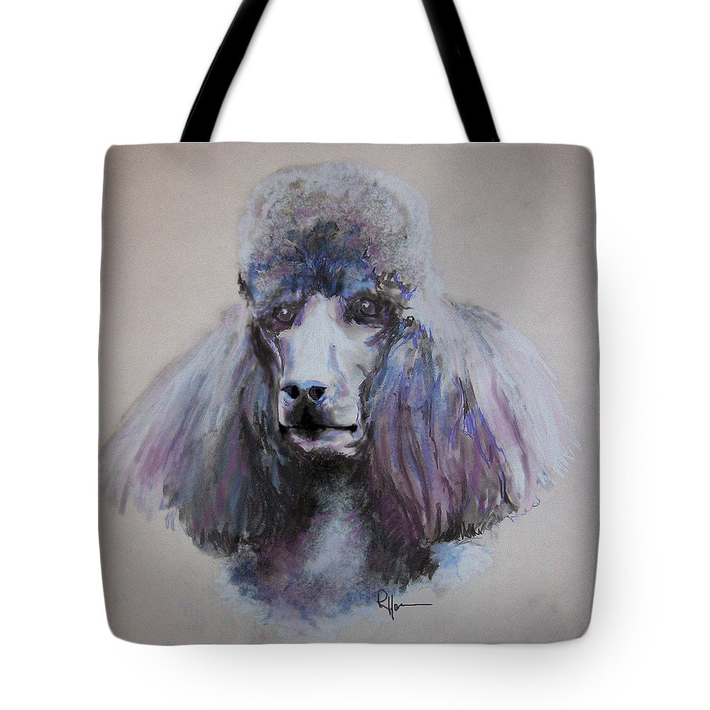 Poodle Portrait Tote Bag featuring the drawing Poodle In Blue by Rachel Hames