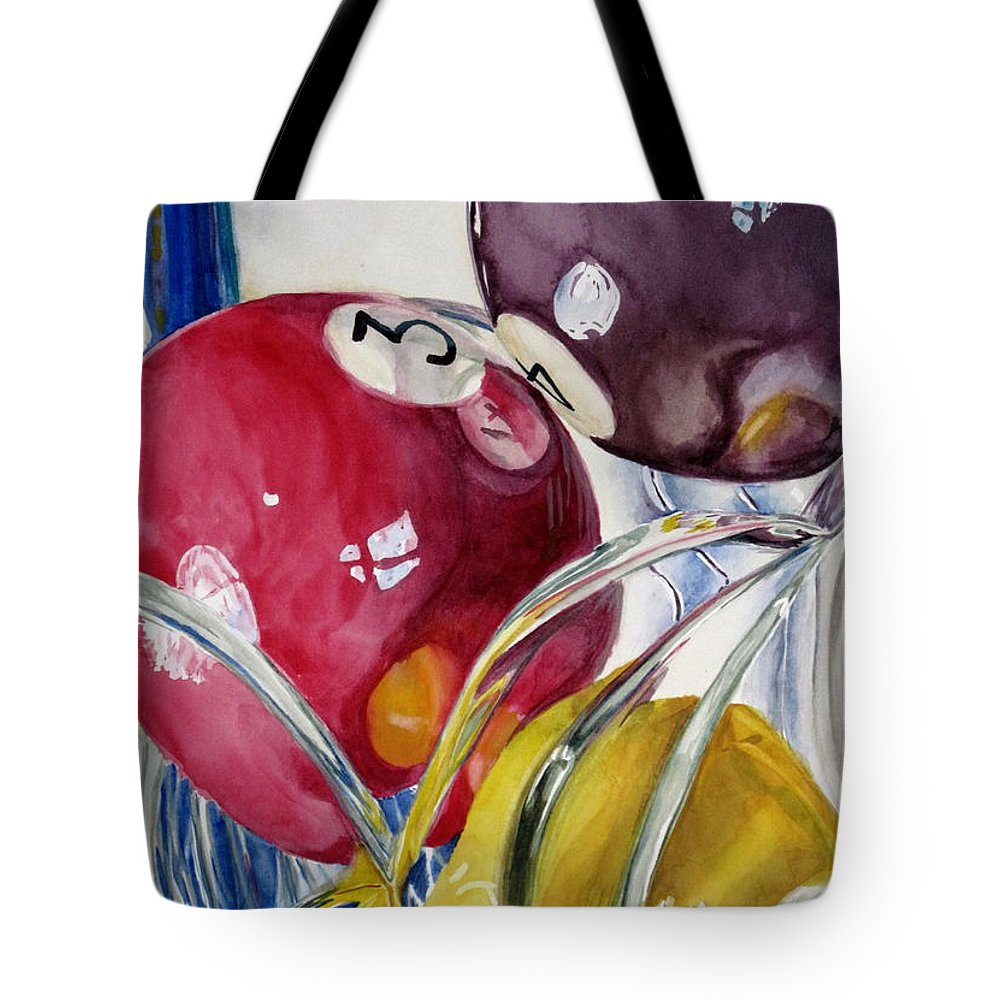 Still Life Tote Bag featuring the painting Pool Balls In A Vase by Karen Boudreaux