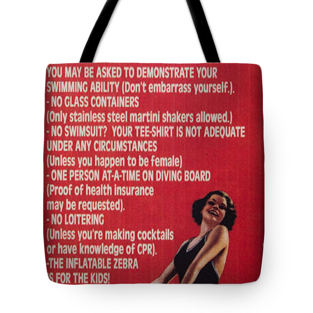 Swimming Pools Tote Bag featuring the photograph Pool Rules by Roger Mullenhour