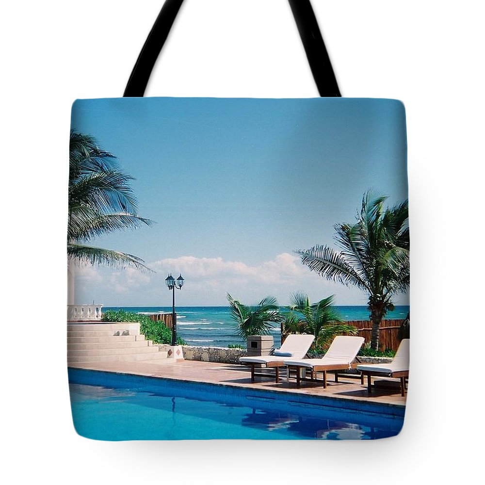 Resort Tote Bag featuring the photograph Poolside by Anita Burgermeister