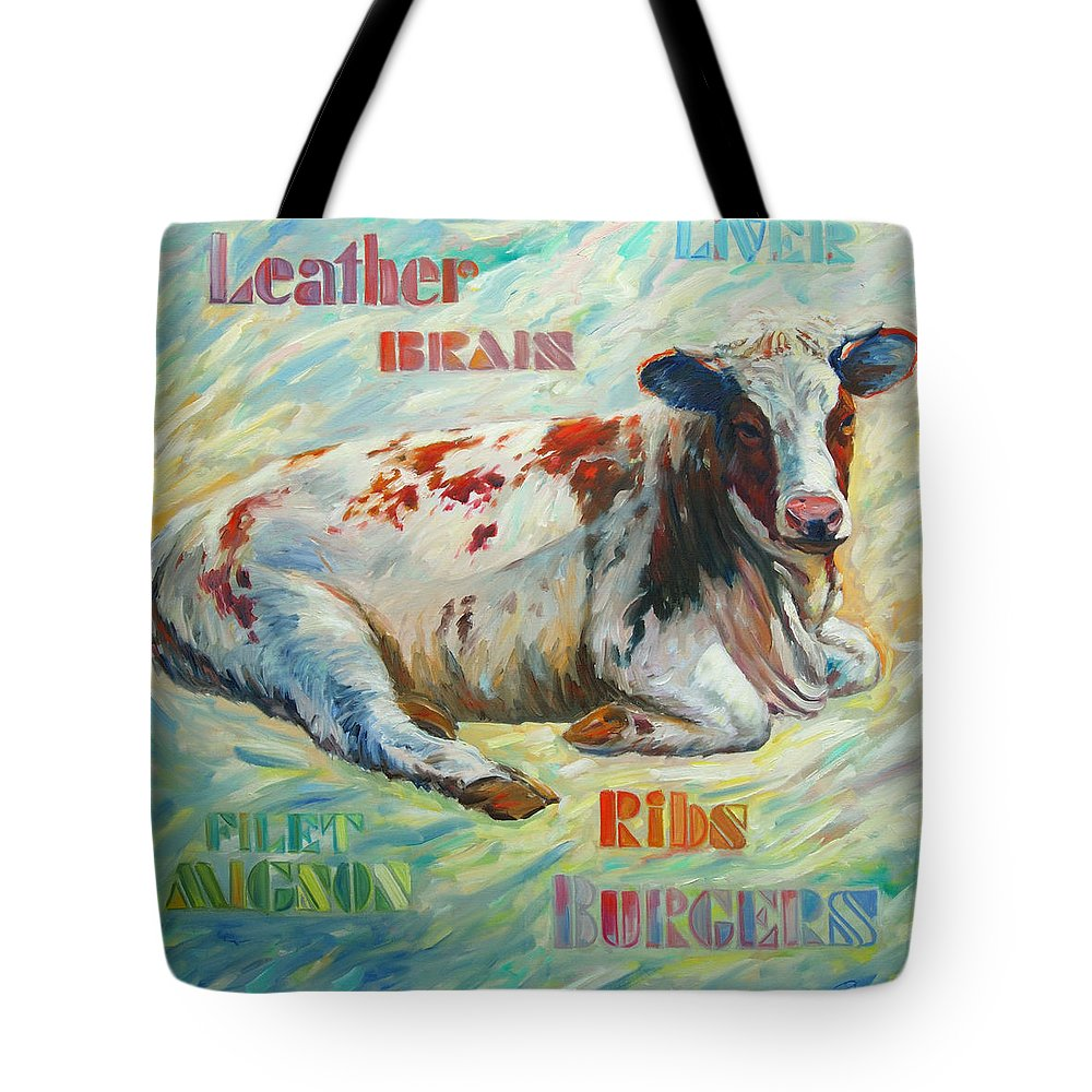 Livestock Tote Bag featuring the painting Poor Miss Bessie by Rick Nederlof