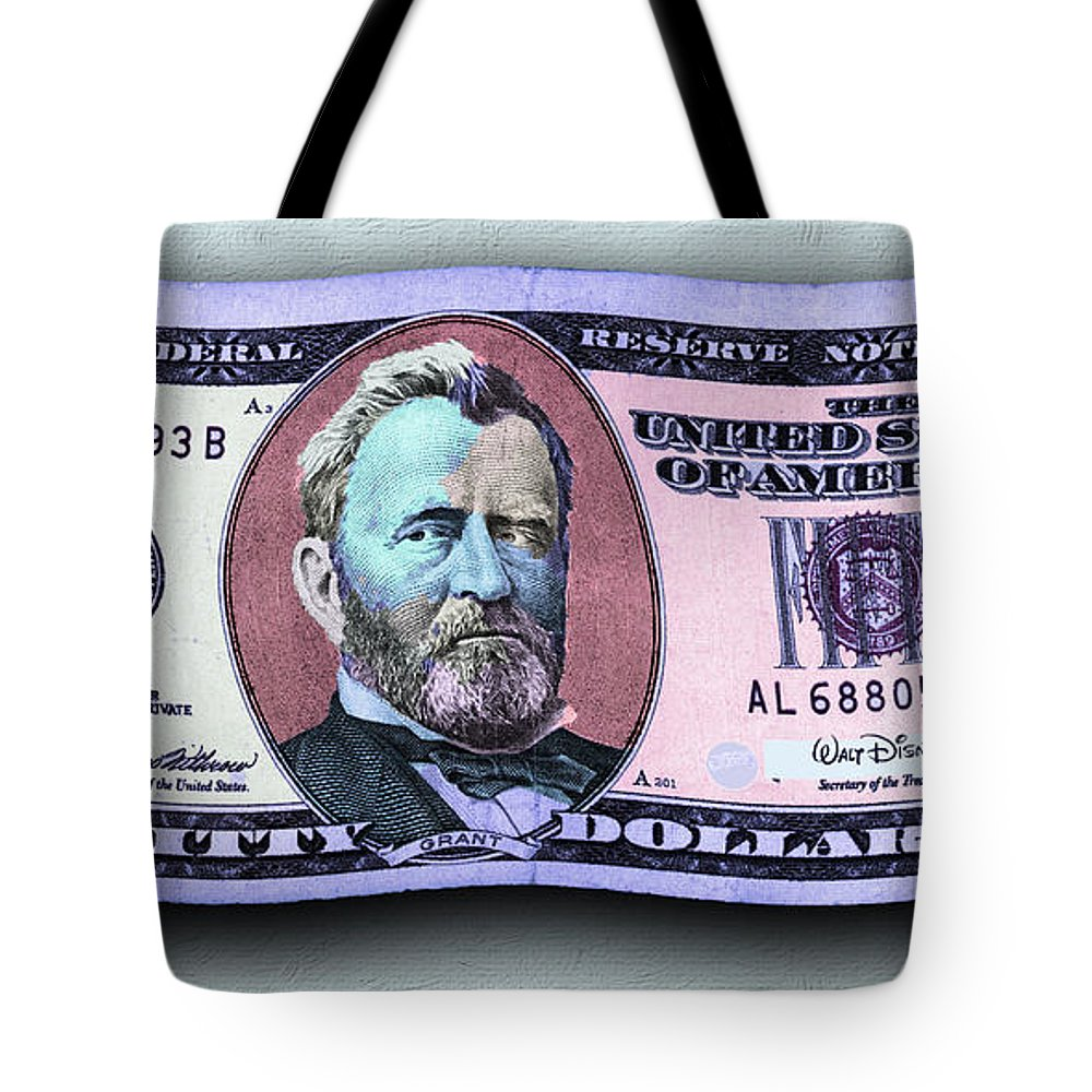 7d00b9e76d23  50 Tote Bag featuring the photograph Pop 50 Dollar Bill In The Wind Purple  Blue by