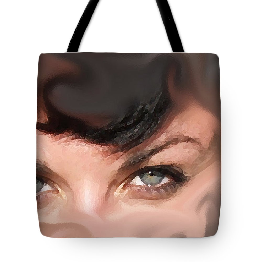 Eyes Tote Bag featuring the photograph Pop Art Eyes by Heather Coen