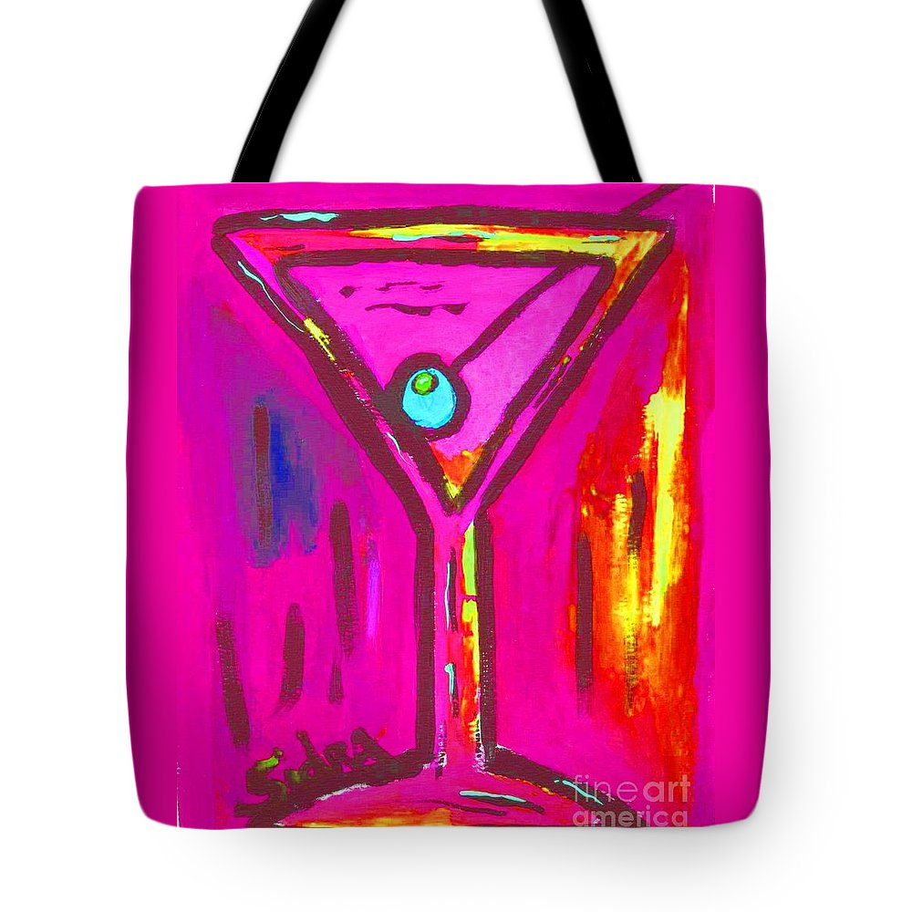 Martini Tote Bag featuring the painting Pop Art Martini Pink Neon Series 1989 by Sidra Myers