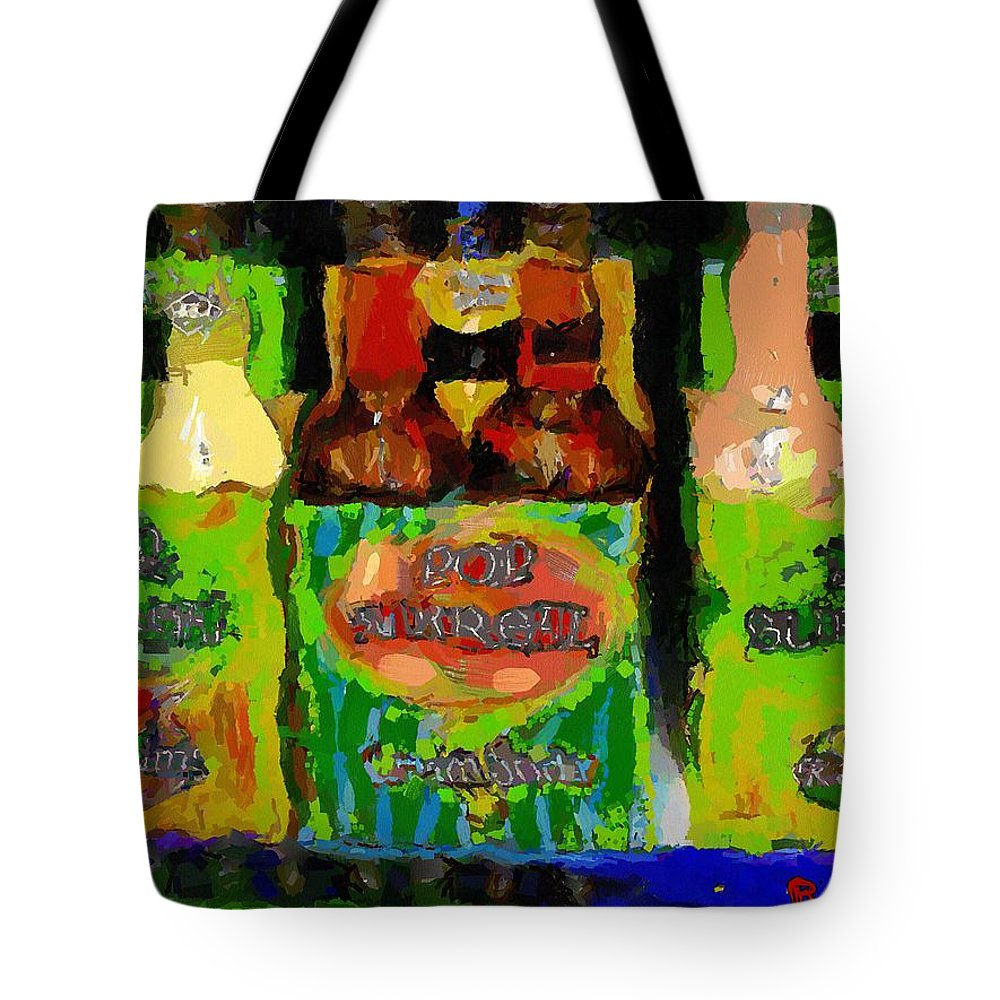 Bottles Tote Bag featuring the painting Pop Goes The Surrealism by RC DeWinter