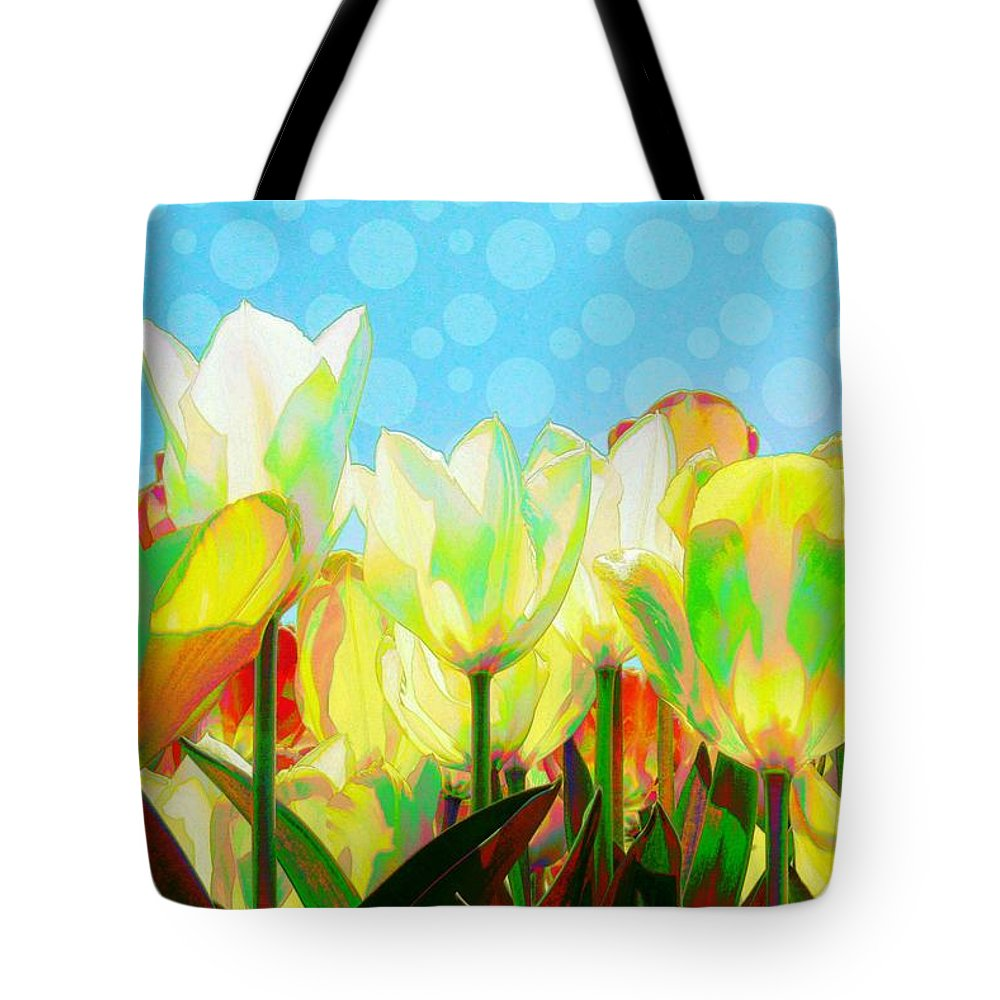 Tote Bag featuring the digital art Popart Tulips by Jeffrey Todd Moore