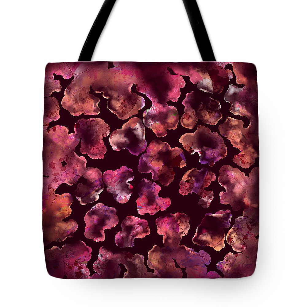 Abstract Tote Bag featuring the digital art Popcorn Extreme by Rachel Christine Nowicki