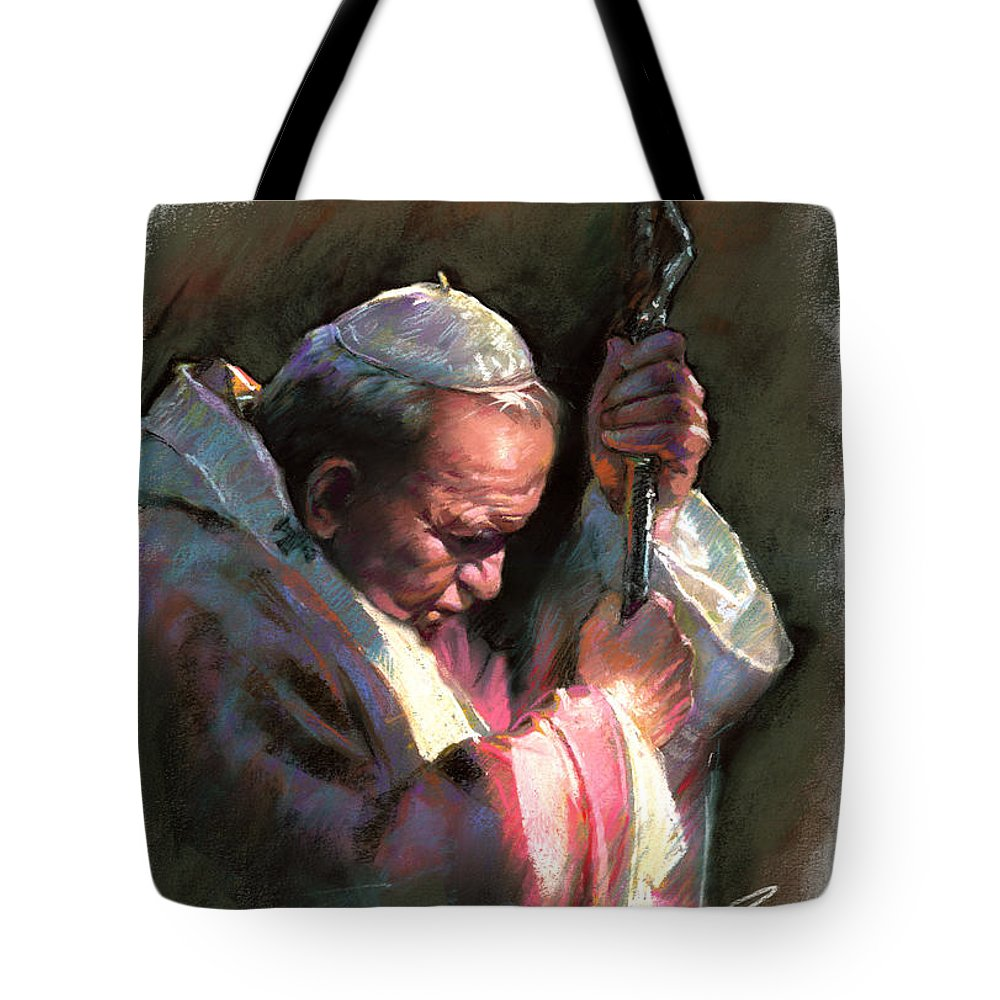 Portrait Tote Bag featuring the pastel Pope John Paul II by Ylli Haruni